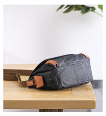 Wax Canvas Leather Mens Dark Gray Small Side Bag Courier Bag Khaki Messenger Bag for Men