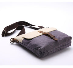 Wax Canvas Leather Mens Small Waterproof Vertical Green Side Bag Courier Bag Messenger Bag for Men