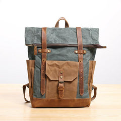 Waxed Canvas Leather Mens 17'' Lake Green Backpack Khaki Travel Backpack Dark Gray Hiking Backpack for Men