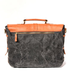 Waxed Canvas Leather Mens Casual 14'' Messenger Bag Side Bag Computer Bag For Men