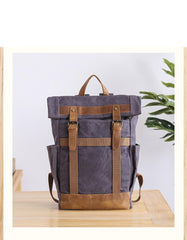 Waxed Canvas Leather Mens 15'' Gray College Backpack Travel Backpack Hiking Backpack for Men