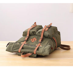 Waxed Canvas Leather Mens Dark Gray Waterproof 15'' Large Backpack Travel Backpack Green Hiking Backpack for Men