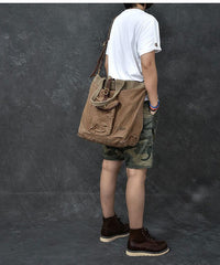 Washed Canvas Leather Mens 15'' Army Green Tote Bag Handbag Tote Bag Light Coffee Shoulder Bag Tote Purse For Men