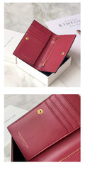 Women Green Vegan Leather Small Card Wallet CONTRAST COLOR Coin Change Wallet For Women