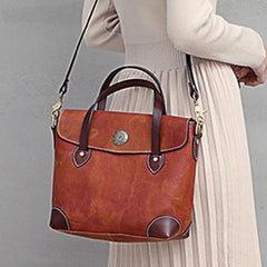 Vintage Coffee Leather Women's Shoulder Doctor Bag Leather Handbags Shoulder Work Purse for Ladies