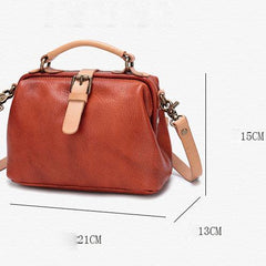 Brown Leather Women's MIni Doctor Handbag Small Doctors Bag Doctor Style Handbag Purse for Ladies