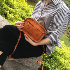 Vintage Womens Coffee Small Cube Handbag Leather Black Women's Shoulder Purse for Ladies