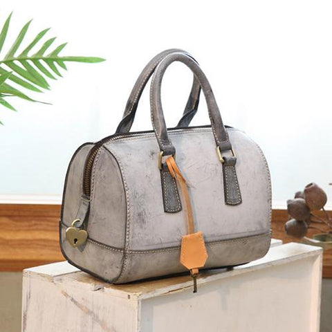 Vintage Womens Waxed Leather Beige Boston Handbags Purse Small Beige Side Boston Bag Purse for Women