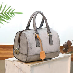 Foggy Wax Leather Boston Handbags Purse - Annie Jewel