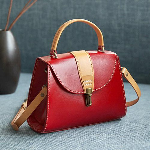 Handmade Women's Leather Handbags Purse Vintage Small Handbag Shoulder Bag Purse