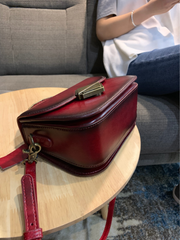 Women's Leather Small Red Satchel Handbag Shoulder Bag Fashion Small Red Leather Satchel Purse for Girls