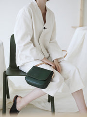 Fashion Women's Small Green Flap Saddle Shoulder Bag Side Bag Crossbody Bag Purse