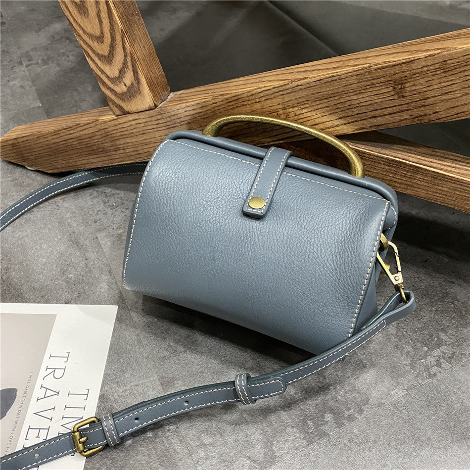 Womens Gray Leather Doctor Handbag Purses Classic Gray Doctor Crossbody Purse for Women