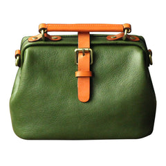 Womens Green Leather Doctor Handbag Purses Vintage Small Doctor Crossbody Purse for Women