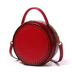 Womens Black Leather Round Handbag with Rivet Crossbody Purse Black Round Shoulder Bag for Women