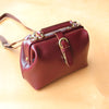 Womens Red Leather Doctor Handbags Shoulder Purse Vintage Red Doctor Purses for Women