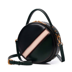 Womens Green Leather Round Handbag CONTRAST COLOR Crossbody Purse Green Round Shoulder Bag for Women