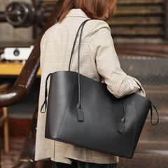 Fashion Womens Large Green Leather Tote Bags For Work Black Shopper Tote Bag for Ladies