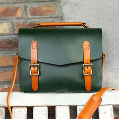 Womens Leather Satchel Bag Cambridge Green Structured Satchel Bag Purse - Annie Jewel