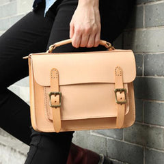 Womens Leather Satchel Bag Beige Cambridge Structured Satchel Bag Purse - Annie Jewel