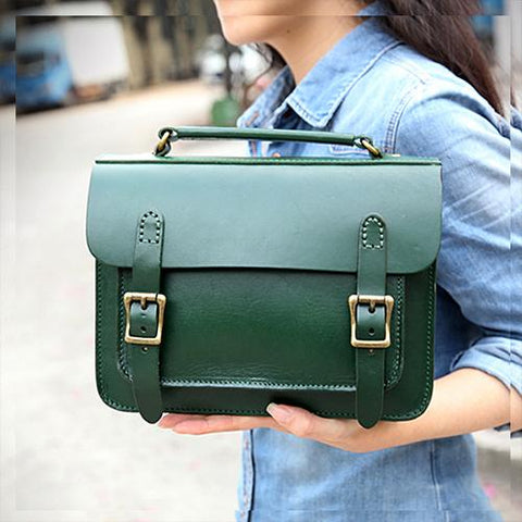 Handmade Womens Green Leather Satchel Shoulder Bag Cambridge Structured Satchel Handbag Purse for Men