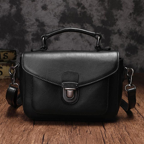 Fashion Womens Black Leather Satchel Handbag Small Brown Satchel Bag Crossbody Bags for Ladies