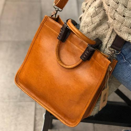 Brown Womens Vintage Leather Square Handbag Purse Black Crossbody Purse for Ladies