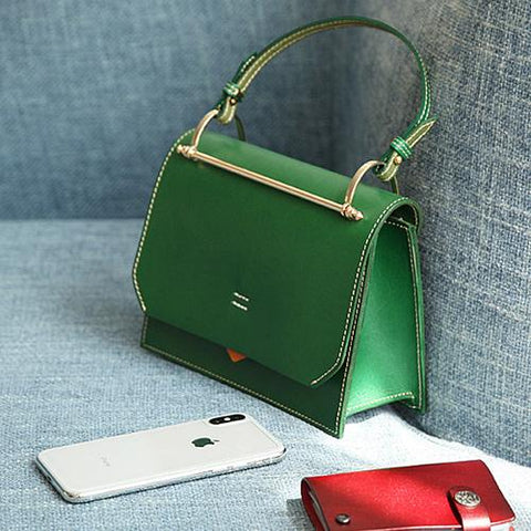 Fashion Womens Green Leather Flap Over Handbag Purse Handmade Square Crossbody Bag Shoulder Bag Purse