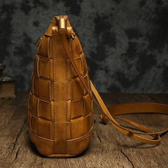 Brown Braided Womens Leather Small Bucket Bag Small Black Bucket Shoulder Purse Barrel Bag