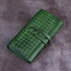 Green Vintage Womens Braided Leather Trifold Long Wallet Phone Clutch Purse for Ladies