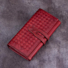 Brown Ladies Vintage Braided Leather Wallet Long Wallet Womens Green Clutch Wallet Red Purse