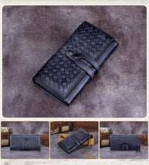 Grey Womens Braided Leather Long Wallet Phone Brown Long Bifold Clutch Purse for Ladies