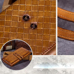 Green Vintage Womens Braided Leather Trifold Long Wallet Brown Phone Clutch Purse for Ladies