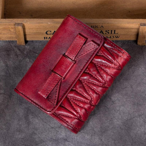 Vintage Womens Red Leather Bowknot Cute Small Brown Wallet Trifold billfold Wallet for Ladies
