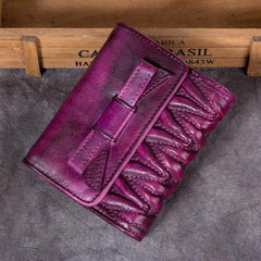 Cute Brown Womens Leather Wrinkled Small Women's Trifold Leather Wallet Vintage Small Wallet for Ladies