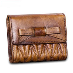 Vintage Womens Blue Leather Bowknot Cute Small Wallet Brown Trifold Short Wallet for Ladies