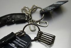 Handmade Motorcycle biker wallet key chain punk black heavy leather key holder