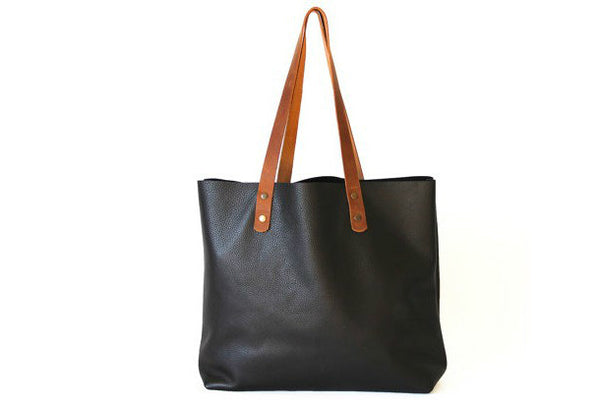 Handmade black modern fashion leather small tote bag shoulder bag handbag for women