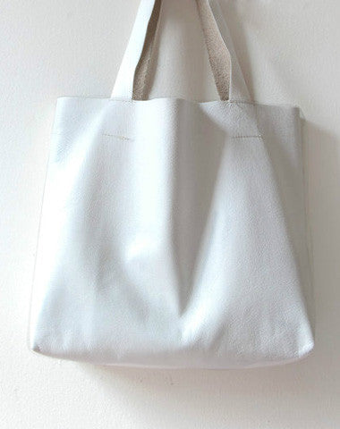 Handmade White fashion leather small tote bag shoulder bag handbag for women