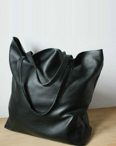 Handmade black fashion leather medium tote bag shoulder bag handbag for women