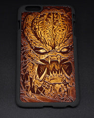 Handmade leather Predator carved leather plastic phone case iphone custom phone case