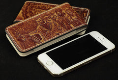 Handmade leather wallet Predator/The Walking Dead carved leather custom iphone5/5s case for men