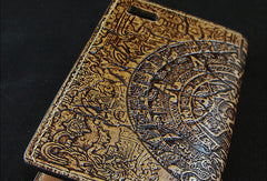 Handmade leather phone case Mayan solar calendar carved leather custom iphone case for men