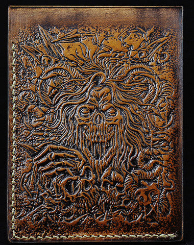 Handmade leather wallet custom Total Deathcore band carved leather short wallet for men