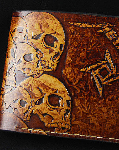 HANDMADE MEN WALLET CUSTOM THRASH METAL METALLICA CARVED LEATHER SHORT WALLET FOR MEN