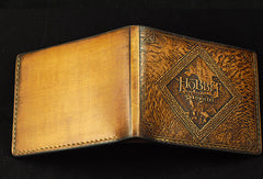 Handmade leather wallet Hobbit2 The Desolation Of Smaug carved leather custom billfold wallet for men