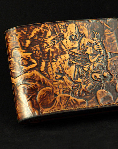 Handmade Assassin's Creed AC carved leather custom short wallet for men gamers