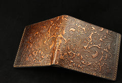 Handmade leather brown custom short wallet Cashew flowers carved for men him