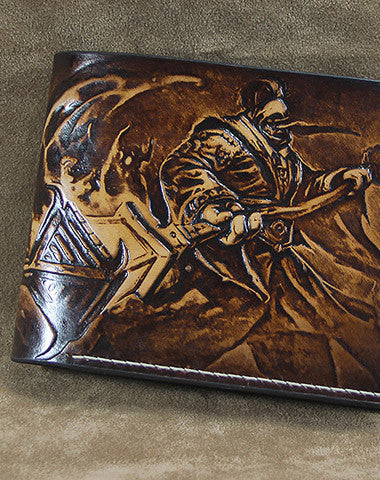 HANDMADE LEAGUE OF LEGENDS LOL JAX CARVED LEATHER CUSTOM SHORT WALLET FOR MEN GAMERS