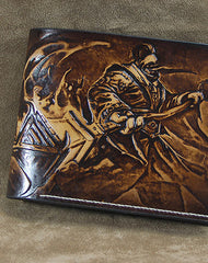 Handmade League of Legends LOL JAX carved leather custom billfold wallet for men gamers